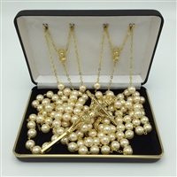 ROSARY LASSO GOLD PEARL